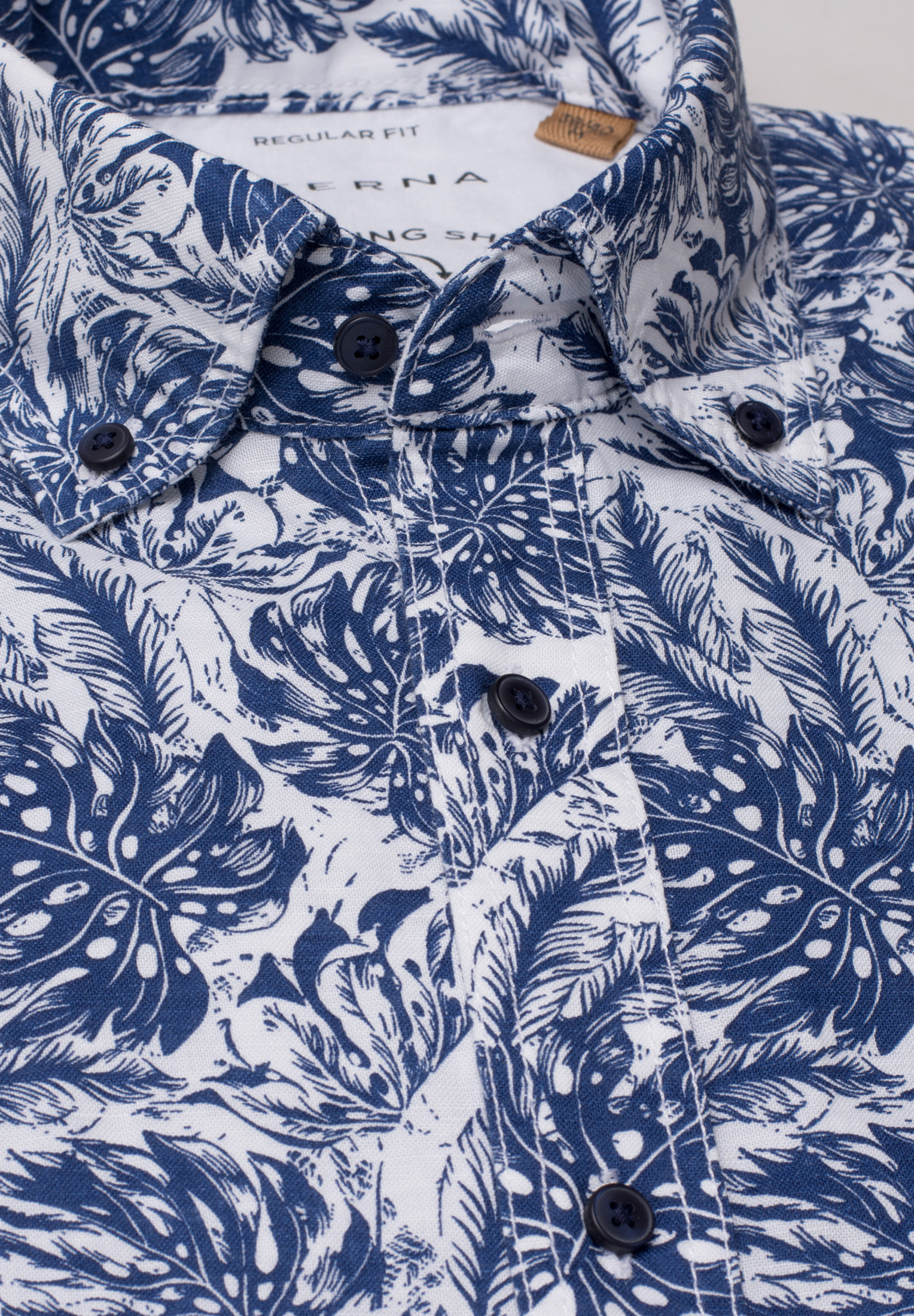 ETERNA 2461 Hemd Leinen, blau/weiss Kurzarm