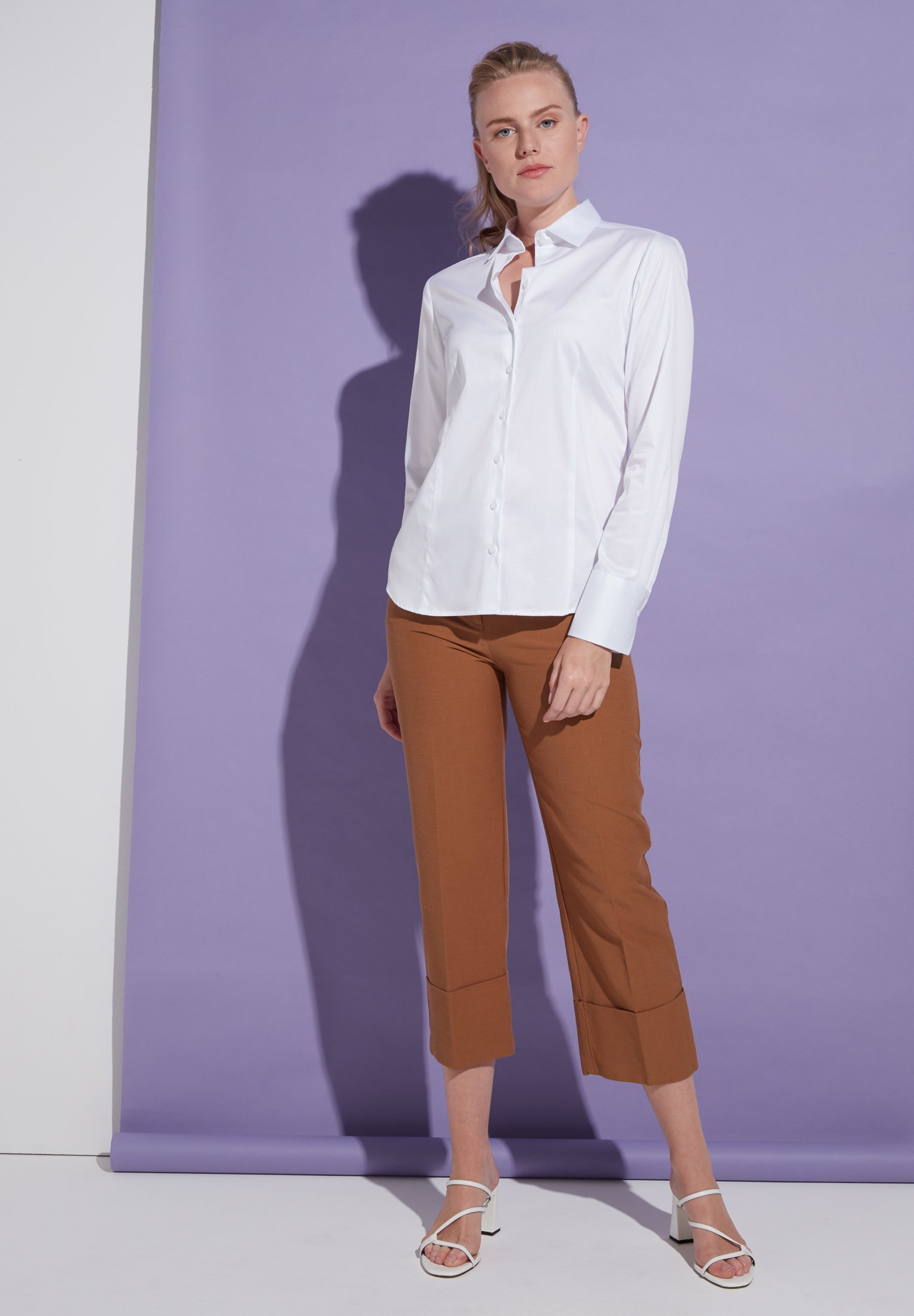 ETERNA 5352 Bluse Baumwolle, weiss