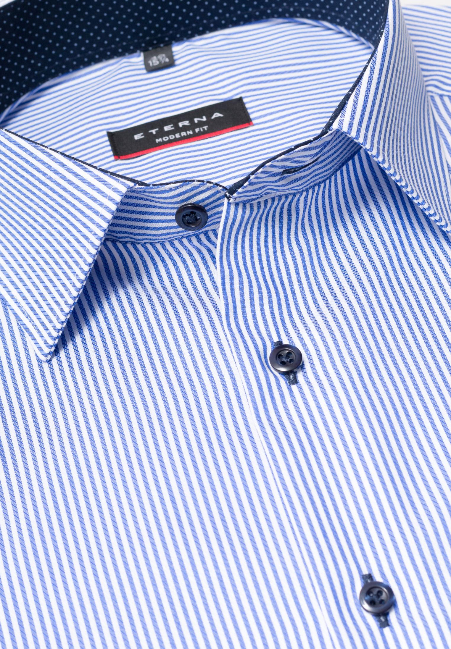 ETERNA 8992 Hemd Baumwolle blau/weiss Langarm
