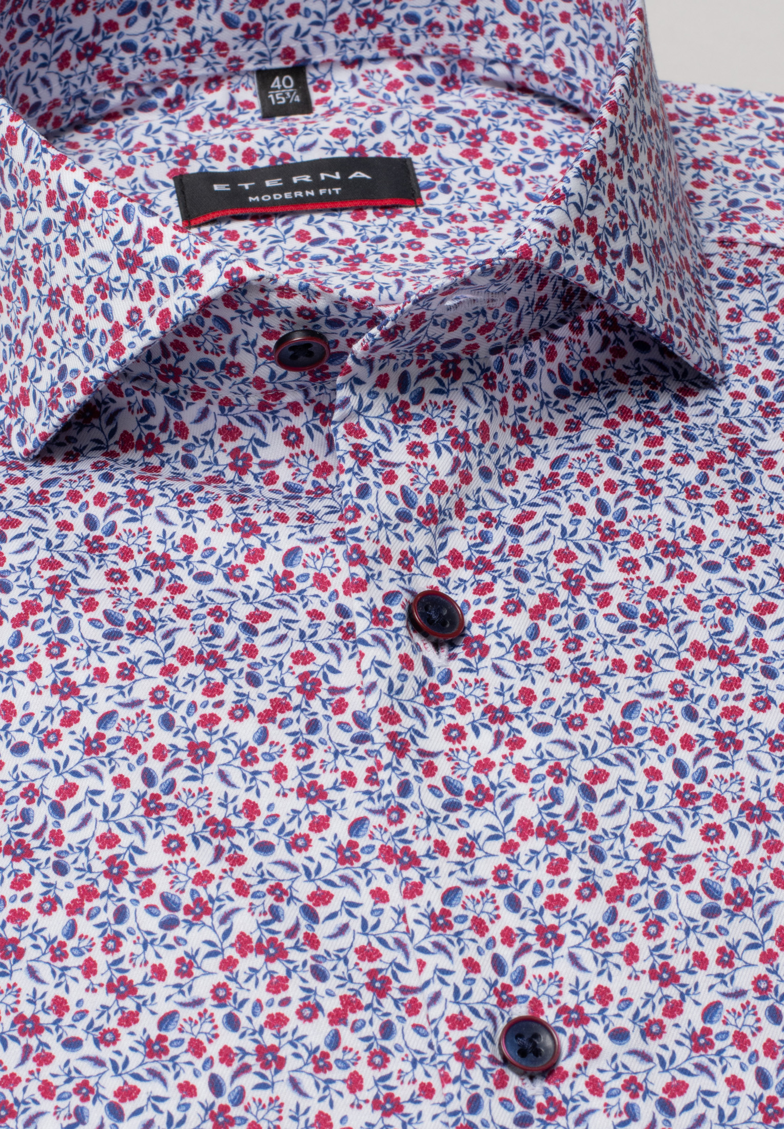 ETERNA 3423 Hemd Baumwolle rot/blau Langarm
