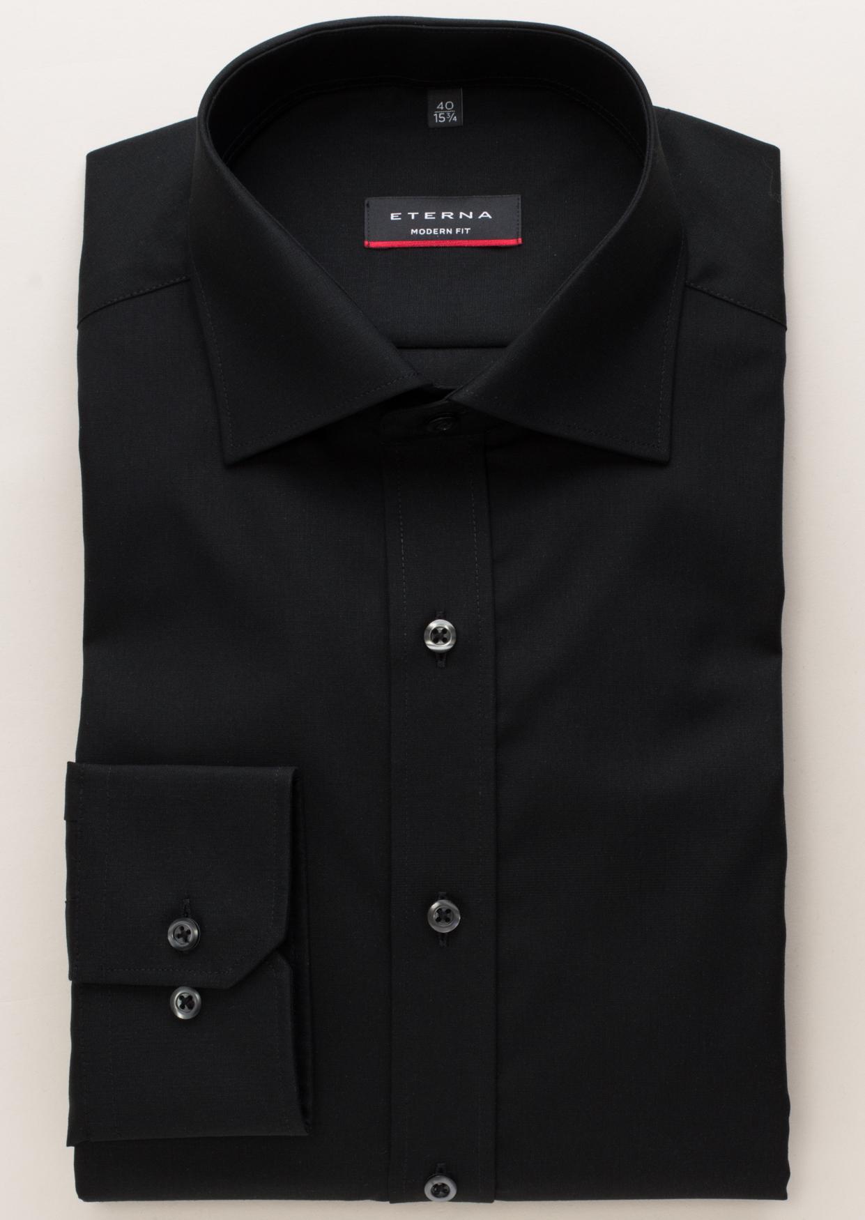 ETERNA 1100 Hemd Baumwolle schwarz Langarm
