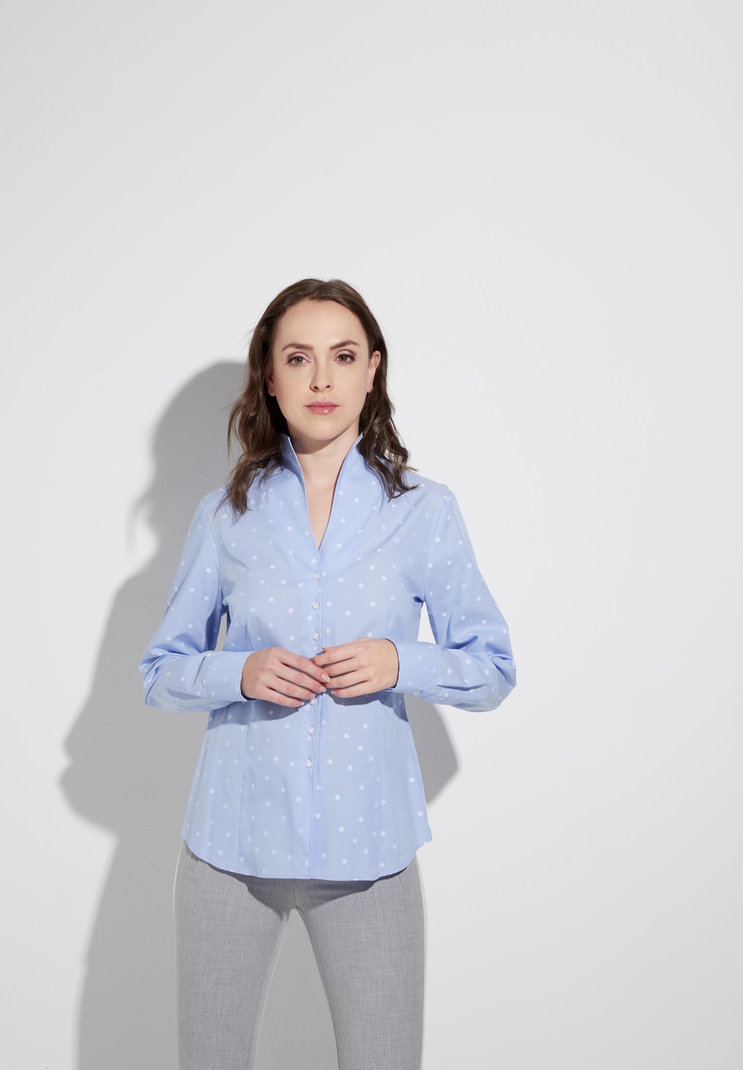 ETERNA 5139 Bluse Baumwolle hellblau/weiss