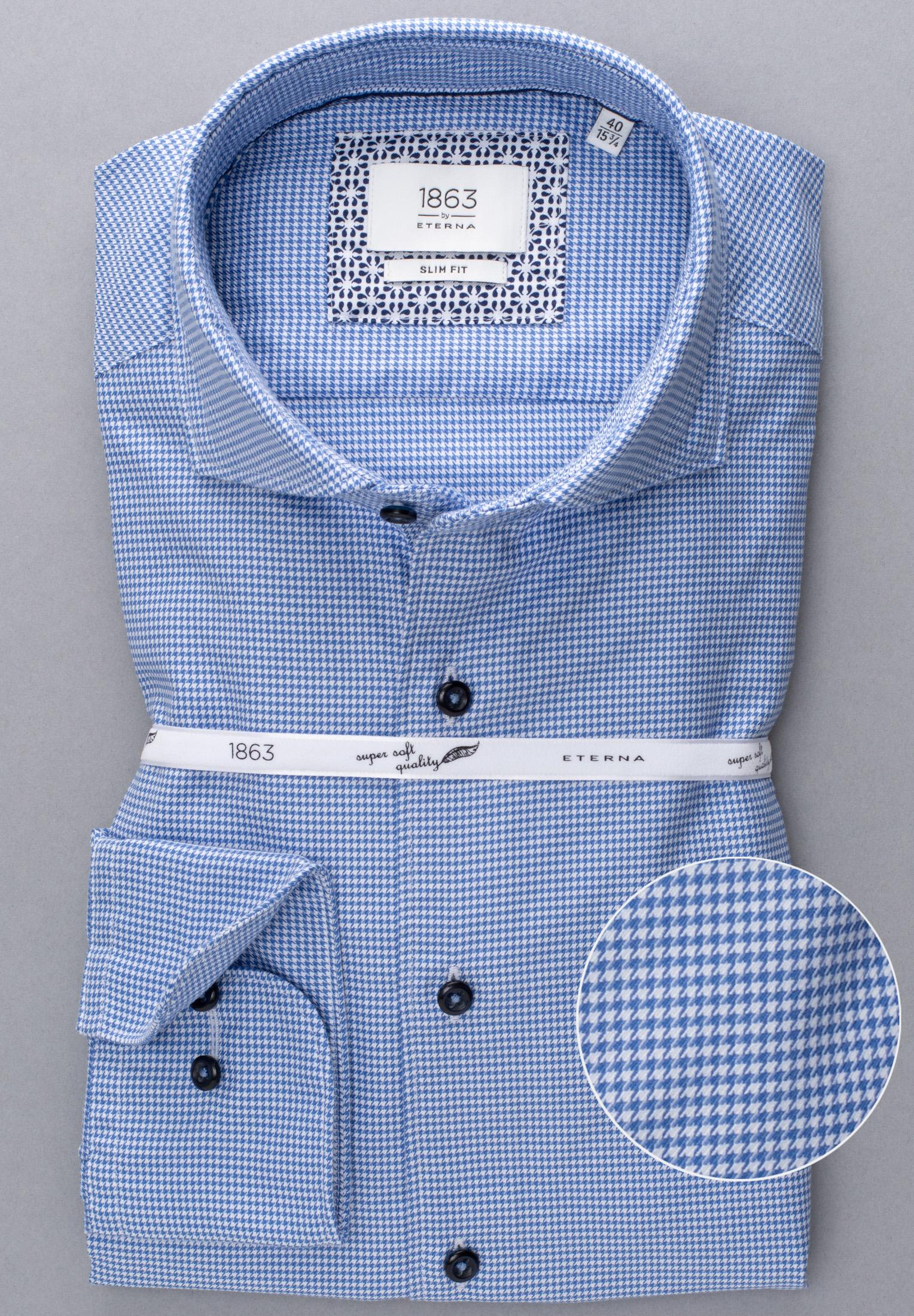 ETERNA 2391 Hemd Baumwolle blau Langarm