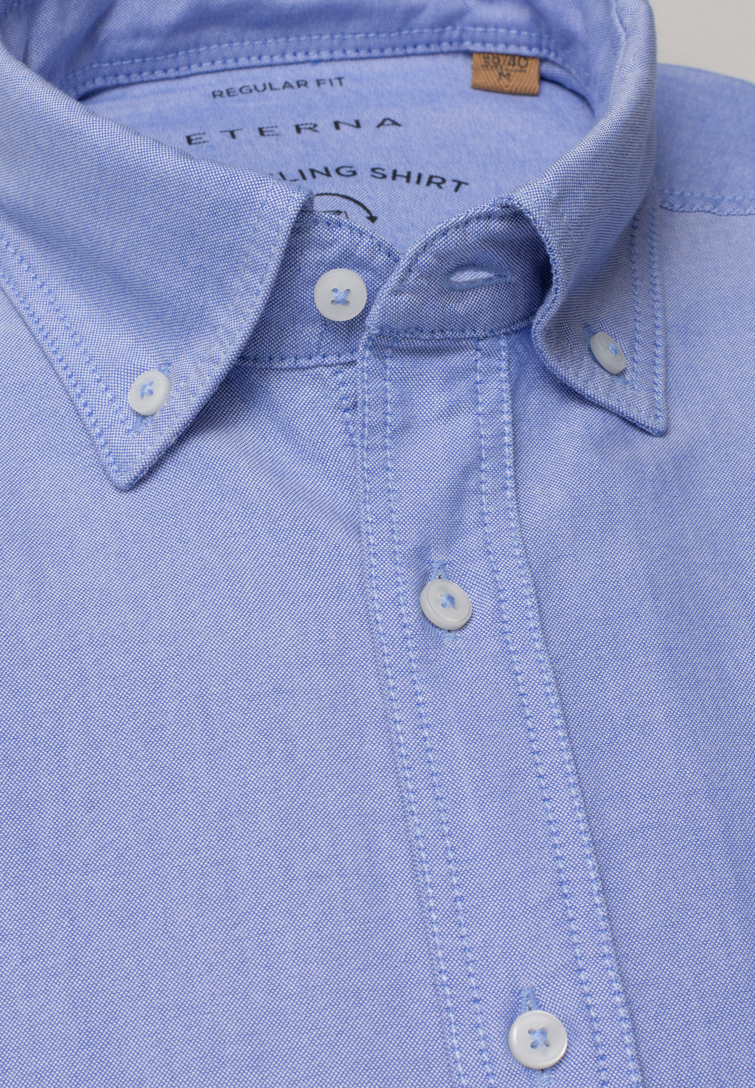 ETERNA 2411 Hemd Baumwolle, blau Langarm