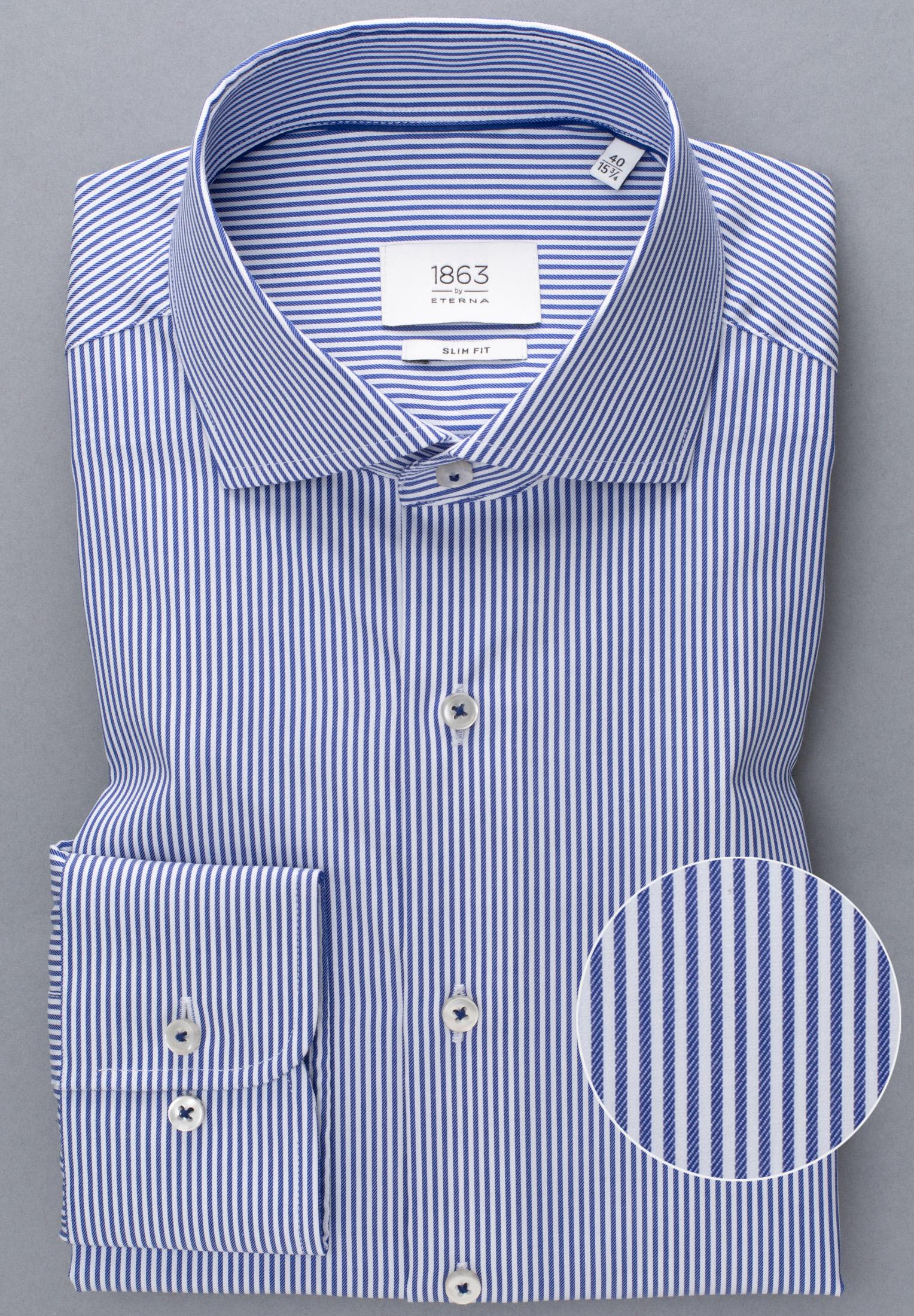 ETERNA 3961 Hemd Baumwolle blau/weiss Langarm