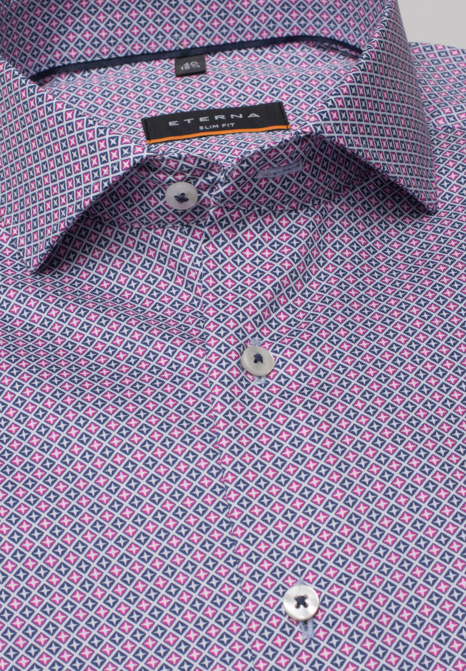 ETERNA 3424 Hemd Baumwolle pink/blau Langarm
