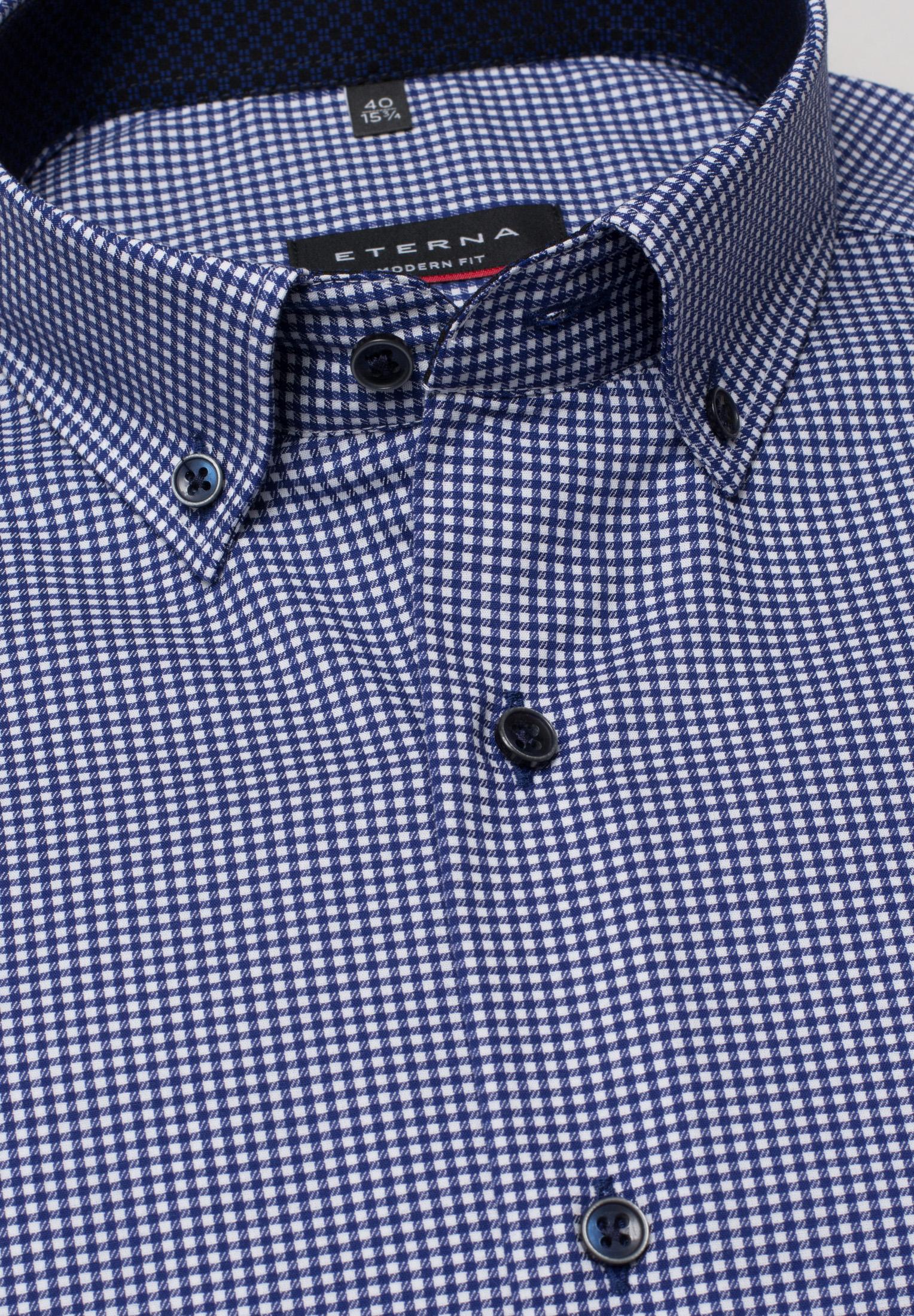 ETERNA 3720 Hemd Baumwolle blau/weiss Langarm