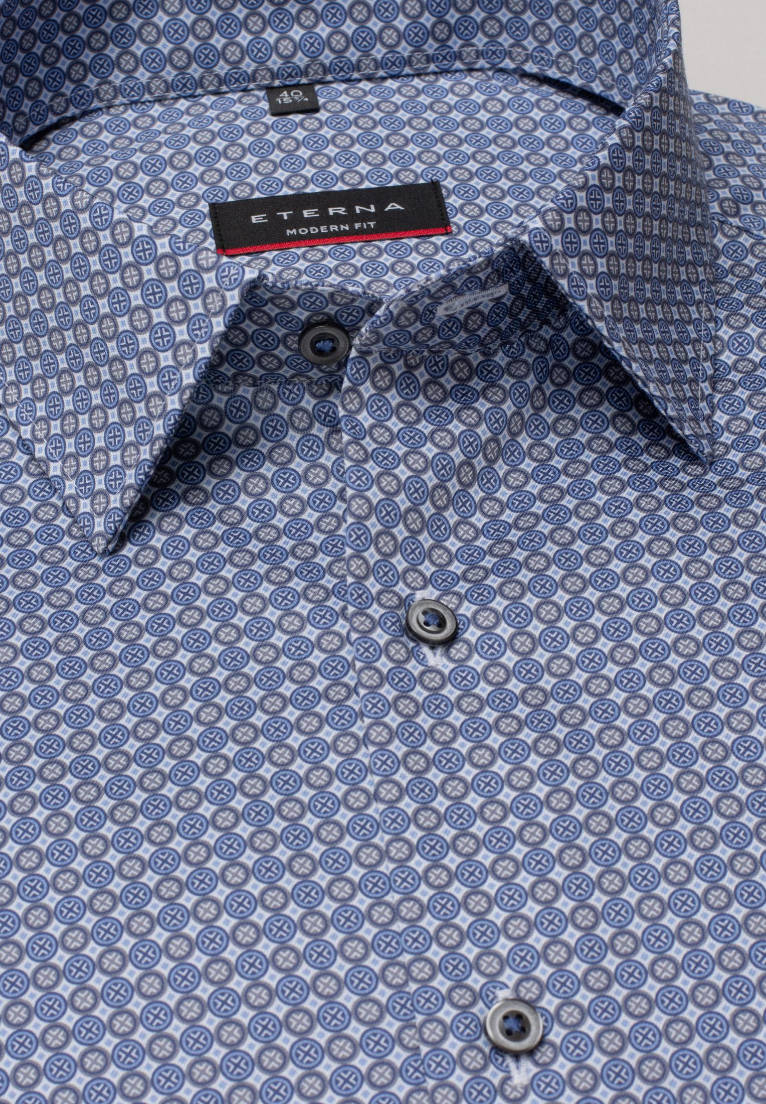 ETERNA 3425 Hemd Baumwolle blau/grau Langarm
