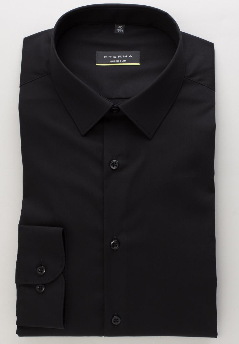ETERNA 8424 Hemd Baumwolle, schwarz Langarm