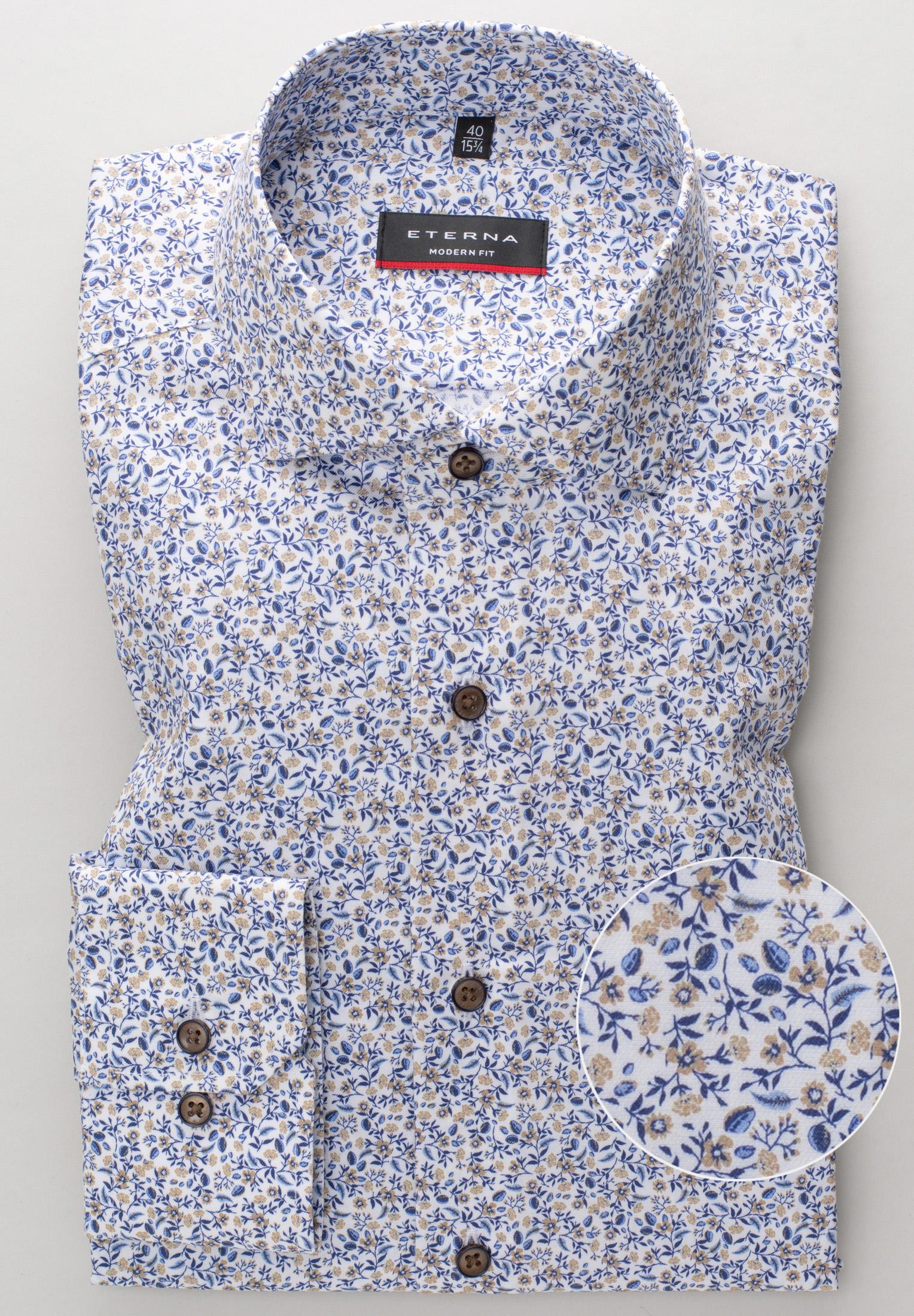 ETERNA 3423 Hemd Baumwolle beige/blau Langarm